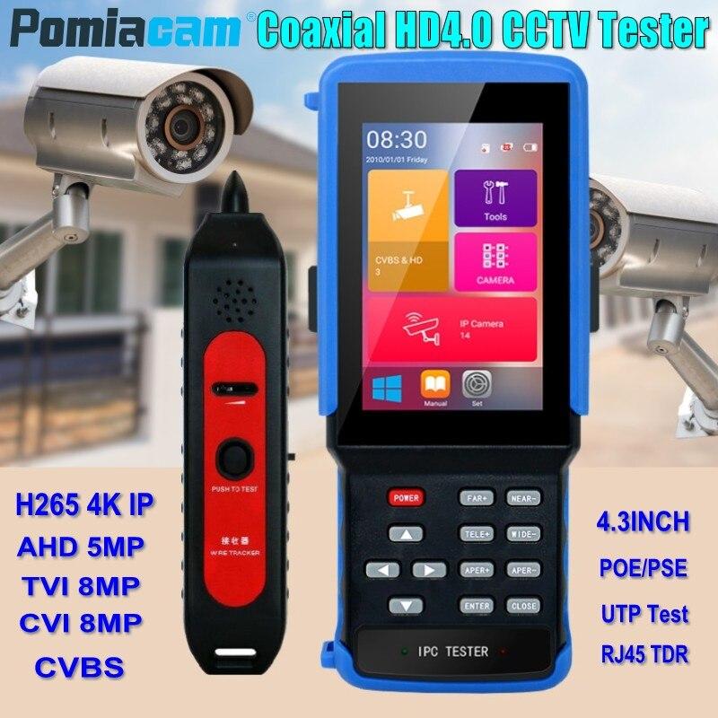 IPC9310 4.3 pouces H.265 4 K IP caméra testeur 5MP AHD 8MP CVI TVI CVBS CCTV caméra testeur moniteur WIFI ONVIF POE UTP/RJ45 TDR Test