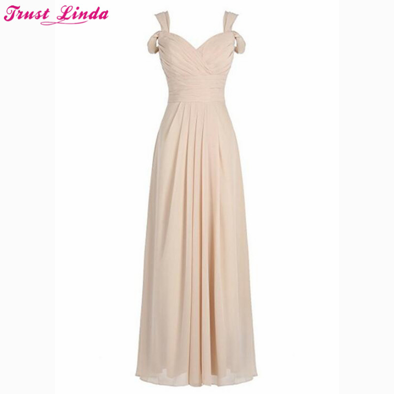 Vestido Longo Champagne Chiffon   Bridesmaid     Dresses   A Line Cheap Wedding Party   Dresses   Pleat Bridal Party Wear   Dress   Prom Gowns