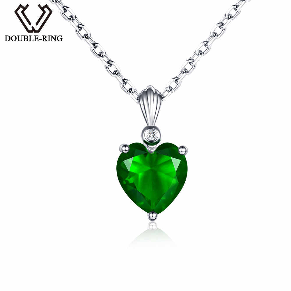 DOUBLE-R Genuine 0.01ct Natural Diamond and 2.72ct Created Emerald Pendants Real 925 sterling silver Necklaces for women