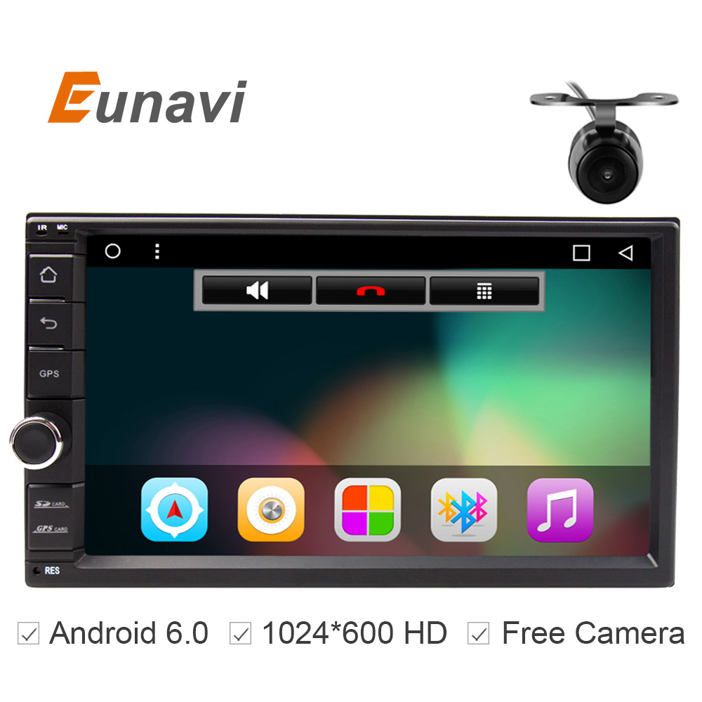 Universal Double 2 din 1024X600 In Dash Android 6.0 Quad Core 7 inch Car DVD Radio GPS Player with wifi Bluetooth FREE MAP android 5 1 car radio double din stereo quad core gps navi wifi bluetooth rds sd usb subwoofer obd2 3g 4g apple play mirror link