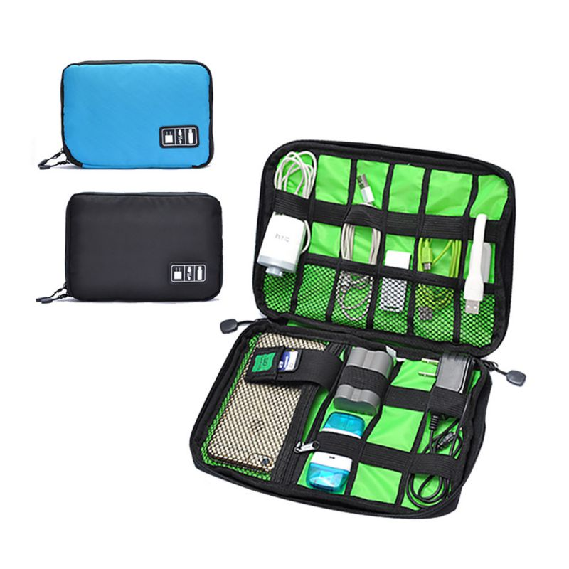 Portable Travel zipper USB Cable Bag Organizer black Nylon Phone Charger Case For Electronic Accessories hard drive Storage bags