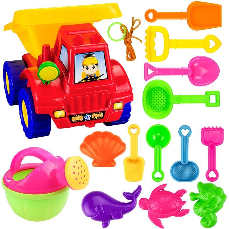 SLPF 14-piece Set Children Beach Toys Kids Baby Tuba Hourglass Dredging Mold For Sand Shovel Tool Parent-child Outdoor Game G31