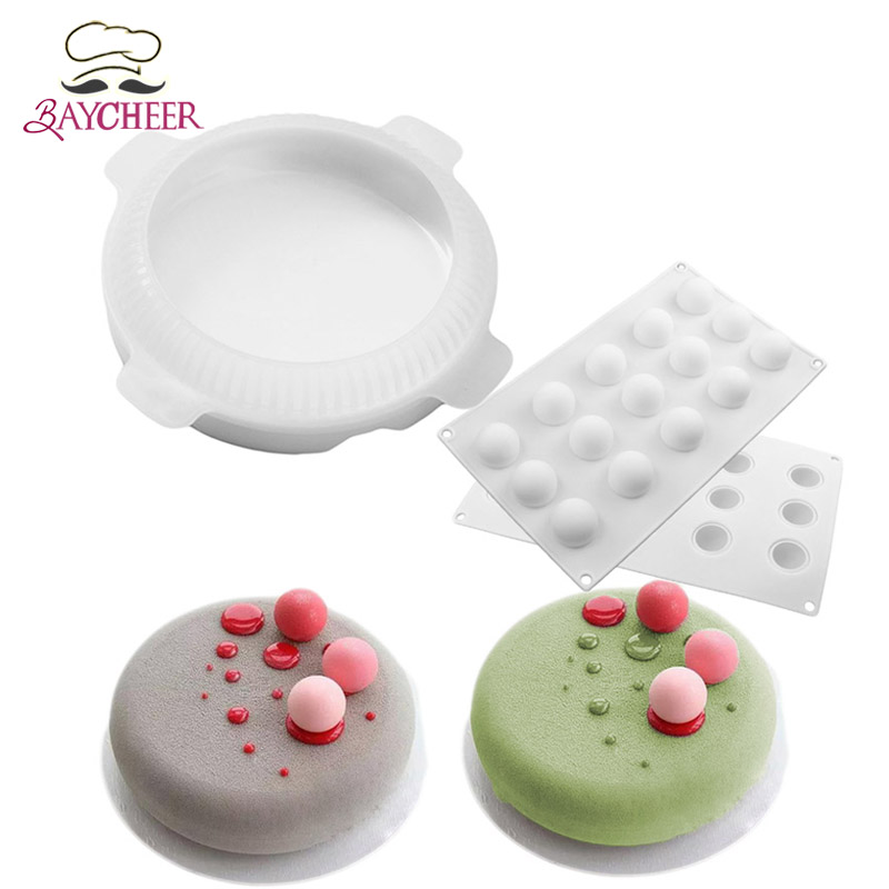 2pcs Flat Top Round Shaped Small Ball Silicone Cake Molds For Mousse Dessert Bakeware