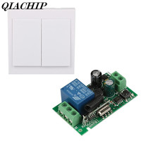 2 CH Remote Control Transmitter Learning Code 1527 433MHz Relay Receiver Wall Module Panel Switch