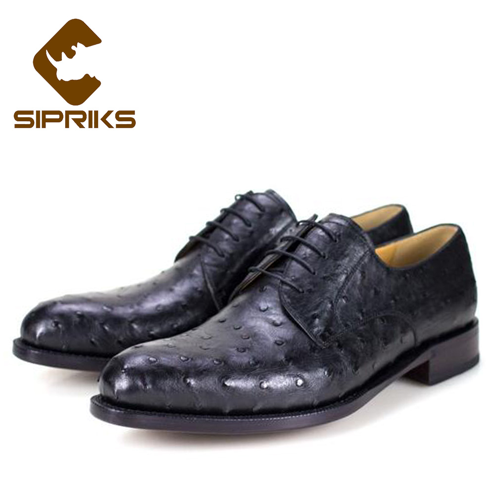 Sipriks Black Ostrich Skin Mens Shoes Bespoke Goodyear Welted Dress Shoes Elegant Ostrich Shoes Hipster Boss Formal Shoes 2018 цена