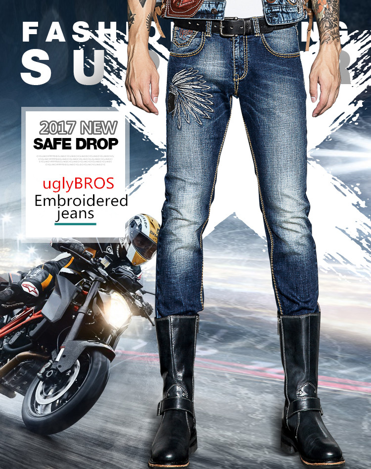 Free shipping 2018 Embroidery uglyBROS Jeans Motorcycle Pants Men's Protective Pants Removable Protector Racing Pants