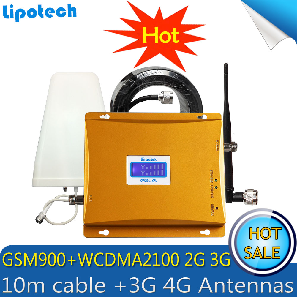 Lintratek GSM 3G Cellular Signal Repeater GSM 900 3G UMTS 2100 Dual Band Cellphone Amplifier 900mhz 2100mhz Booster 4G Antennas