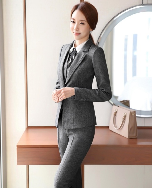 Novelty Grey Formal Uniform Design Pantsuits With Jackets And Pants Autumn Winter Professional Career Pants Suits Trousers Set