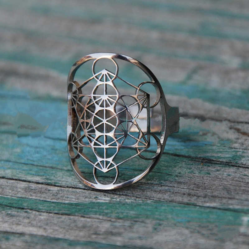 Stainless Steel Metatron/'s Cube Hexagon Crest Flat Top Biker Style Polished Ring