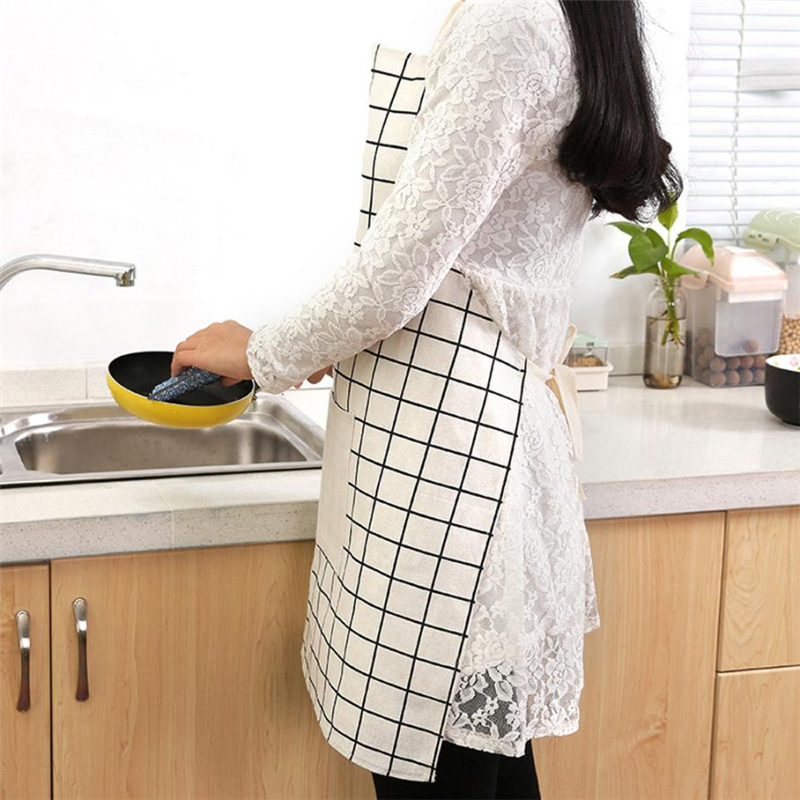 New Women Cooking Kitchen Restaurant Apron Dress Unisex Dining Barbecue Pocket Bib Eco-Friendly Easy To Clean 2018 hot C0308