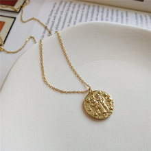 Coin 925 Sterling Sliver Chains Gold Baroque Gemini Constellation Pendant Necklaces Minimalist Disc Chokers Layering Necklaces peri sbox 925 sterling sliver face pendant chokers necklace minimalist coin disc choker necklaces chic layered chain necklaces