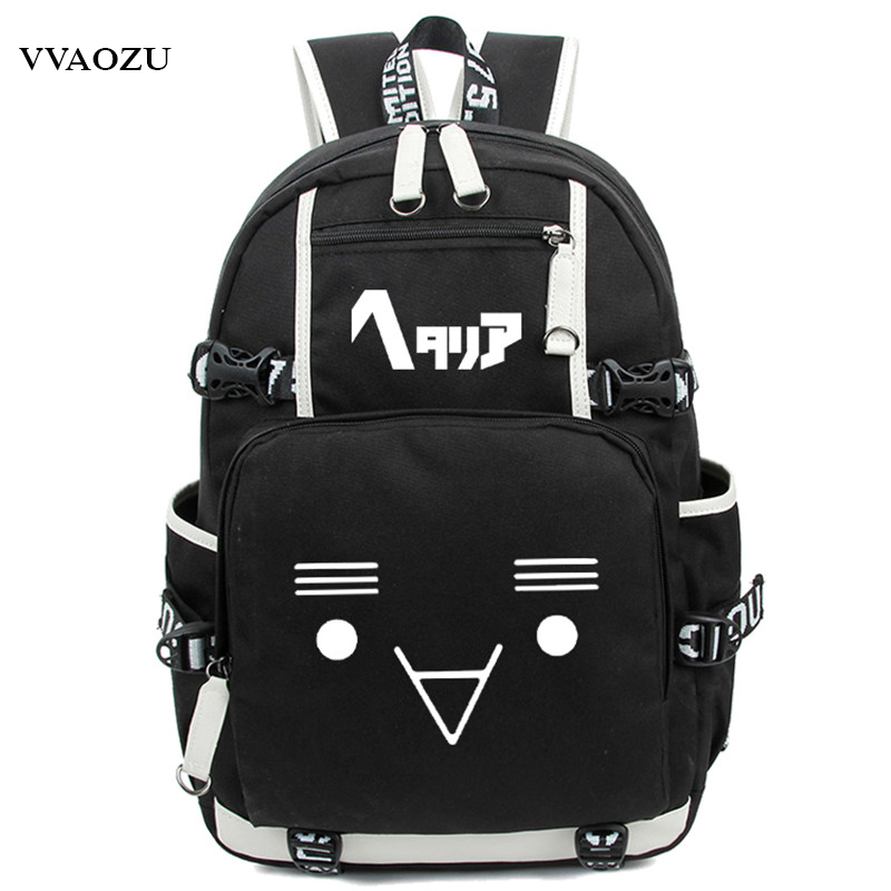 Fashion Axis Powers Hetalia APH Backpack Japan Anime Women Men Cosplay Nylon Luminous Laptop Schoolbag Travel Rucksack