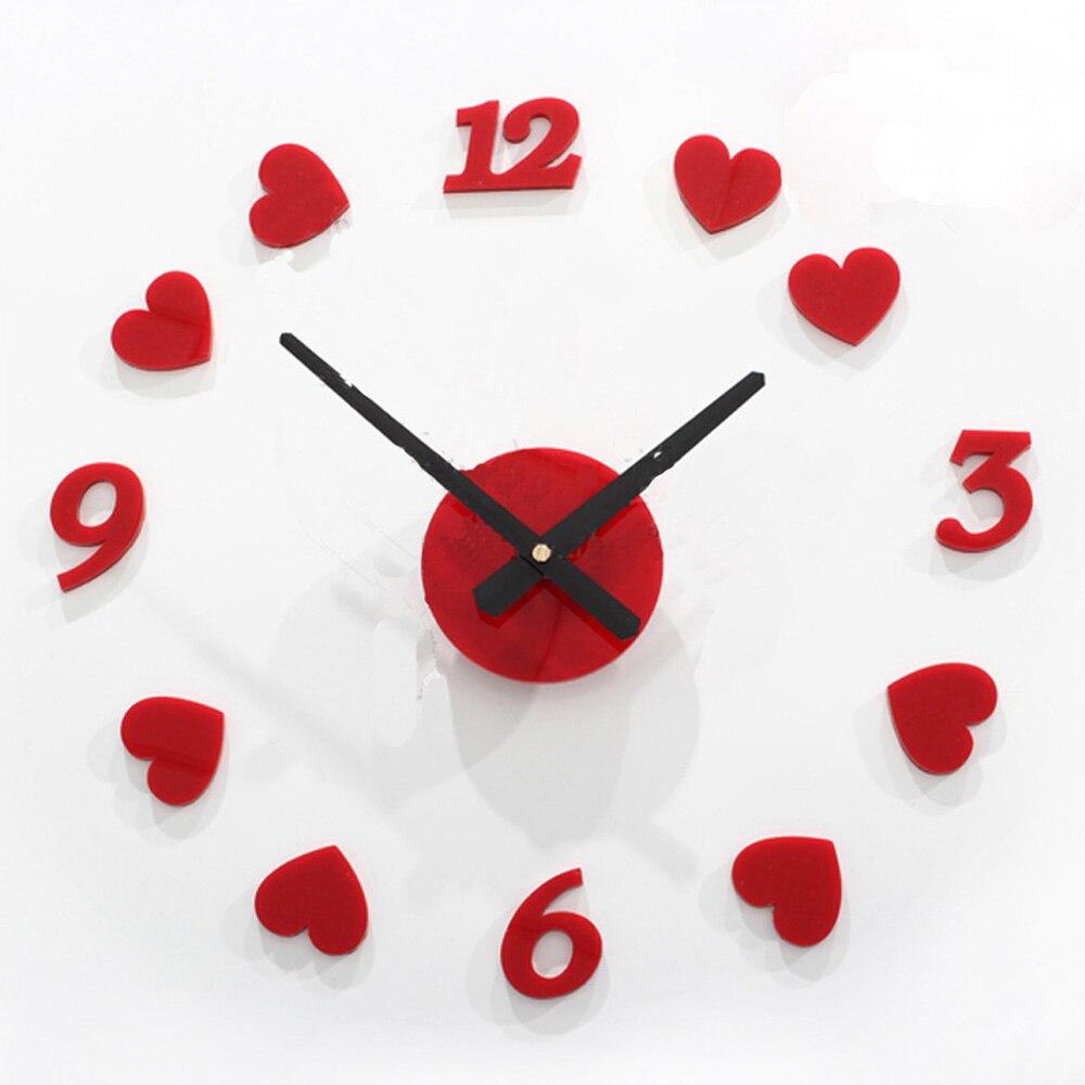 red heart digital arabic numerals wall clock romantic wedding room decor princess style clock 3d diy
