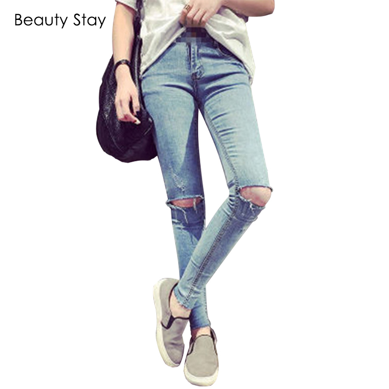 BeautyStay High Waist Ripped Hole Maternity Jeans Woman Thin Pregnant Women Pregnancy Belly Pencil Pants Ladies Denim Trousers woman fashion slim solid knee distrressed maternity wear jeans premama pregnancy prop belly adjustable pants for women c73