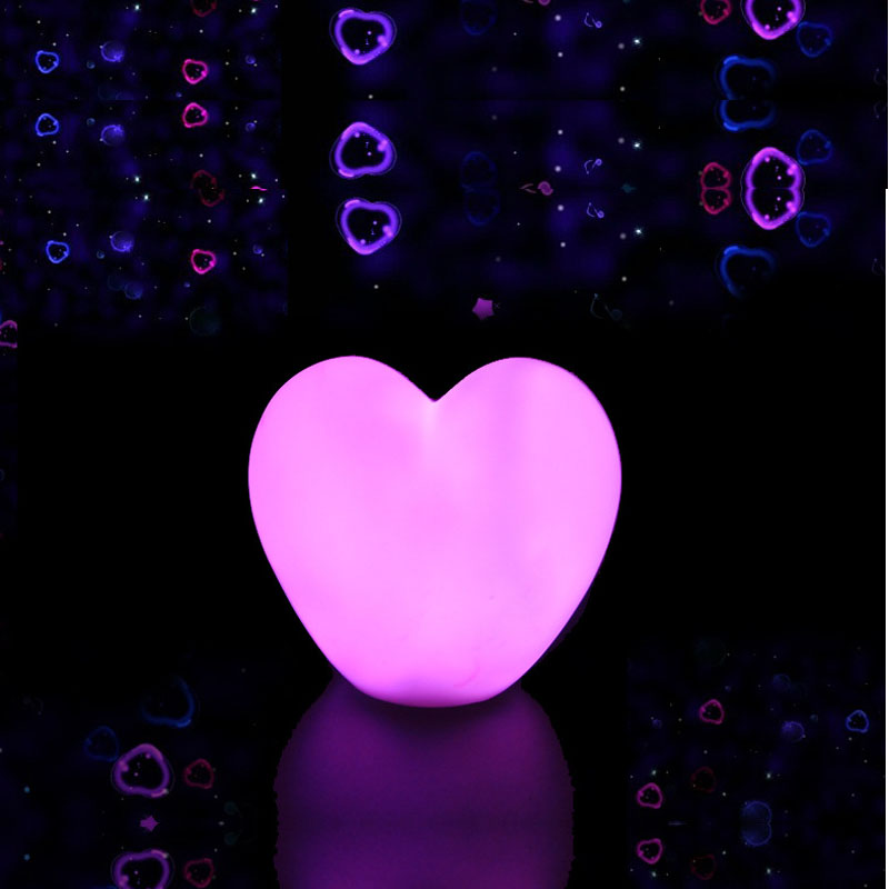Romantic Led Mini Lovely Heart Night Lights Colorful Cartoon Pink WhiteBattery Powered Bedroom Baby Pillow Toy Desk Night Lamps