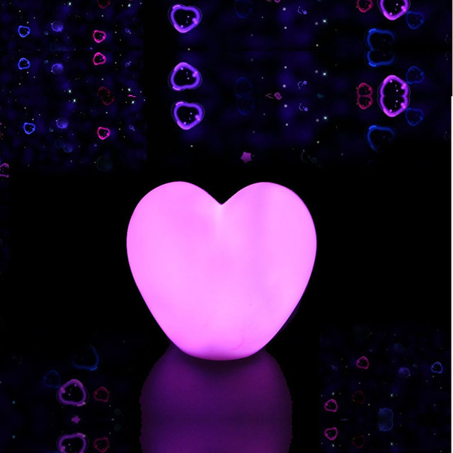 Us 3 99 20 Off Romantic Led Mini Lovely Heart Night Lights Colorful Cartoon Pink Whitebattery Powered Bedroom Baby Pillow Toy Desk Night Lamps In