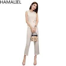 HAMALIEL New 2018 Women's Office OL 2 Piece Suits Summer Vest Wear Work Formal Set Business Solid Crop And Nine Slim Pants Suit