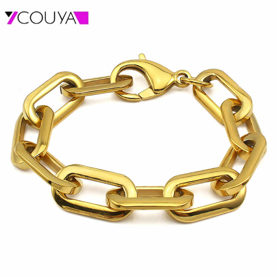 Stainless Steel Link Bracelet Gold Plating Lobster Clasp Bracelet Chain for Women and Men High Polished Shiny Fashion Bangle