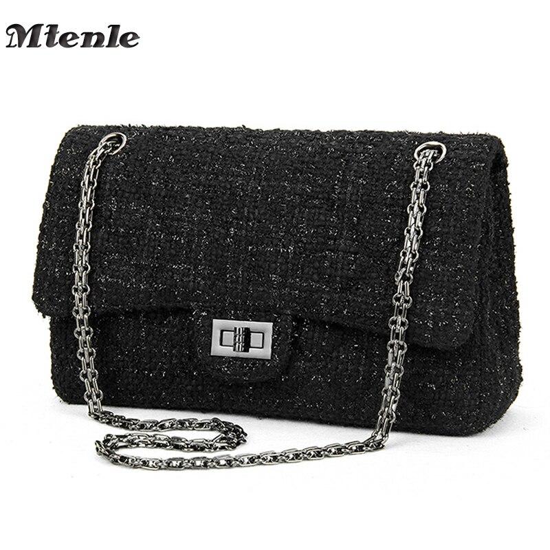 MTENLE Women's Handbags Women Crossbody Bags Luxury Brand Designed Ladies Shoulder Bags Chain Weave Wool Messenger Bag Black  F
