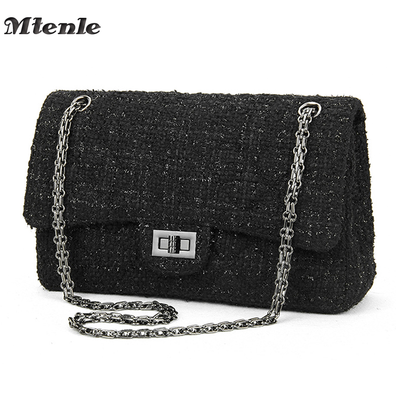 MTENLE Womens Handbags Women Crossbody Bags Luxury Brand Designed Ladies Shoulder Bags Chain Weave Wool Messenger Bag Black F