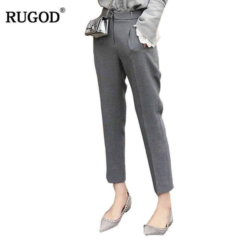 RUGOD 2018 nuevo verano Delgado tobillo-longitud lápiz pantalones mujeres Casual pantalones de cintura alta elegante Oficina señora pantalones Pantalon Mujer