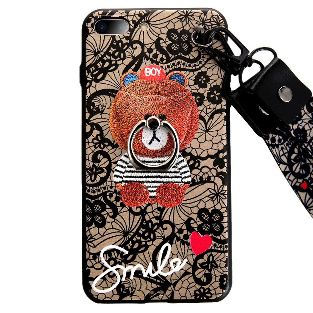 New case cover for iphone 8 7 plus X 6 6S plus lovely cartoon lace <font><b>bear</b></font> with strap and finger holder soft silicon <font><b>phone</b></font> bag