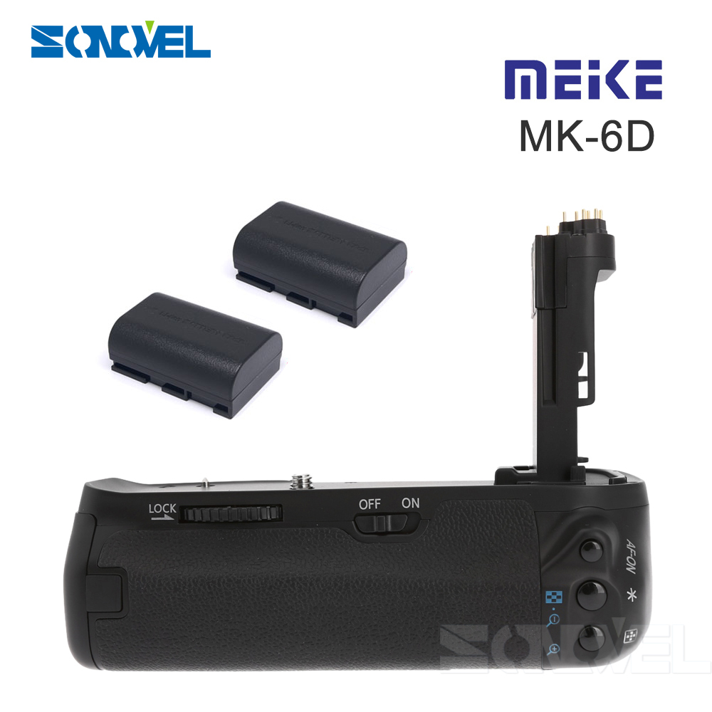 Meike BG-6D Vertical Battery Grip Holder with 2pcs LP-E6 batteries for Canon EOS 6D Camera DSLR Replace as BG-E13 neewer meike battery grip for sony a6300 camera built in 2 4ghz remote control work with 1 or 2 np fw50 battery