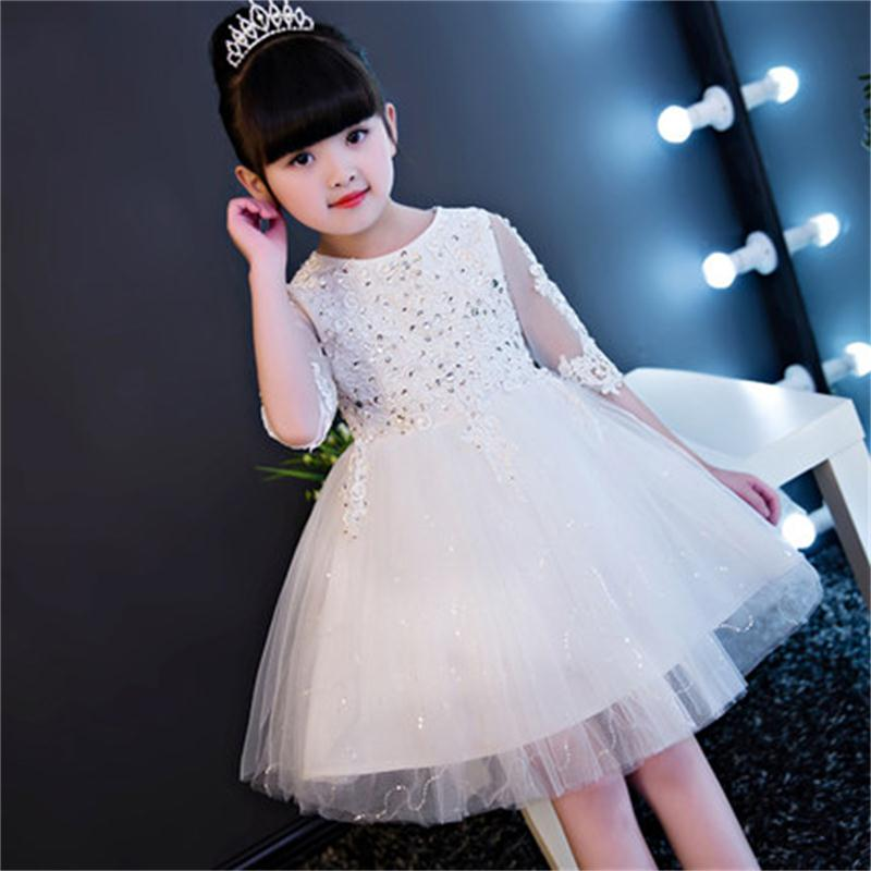 Long children's dress princess dress flower girl wedding girls piano dance costumes pettiskirt long-sleeved white yarn summer 2017 spring fall winter flower girls dress long sleeve plus velvet thickness princess dress fashion net yarn dance dress