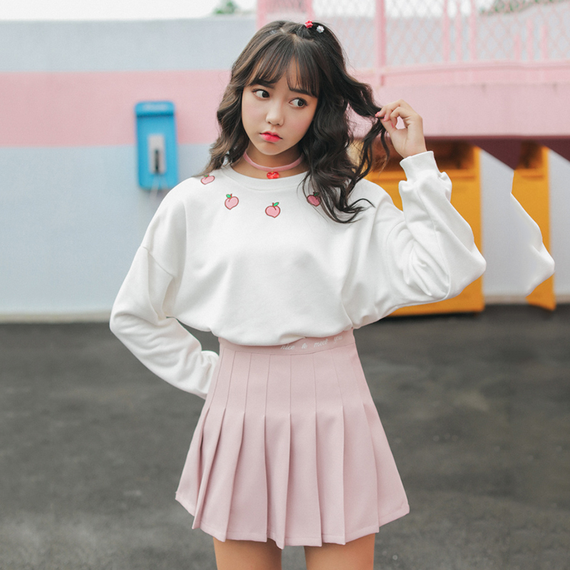 College Elegant Sweet Set Fresh Spring Teens Girls Student Korean Cute Fashion Top + Skirt Two Piece Sweet