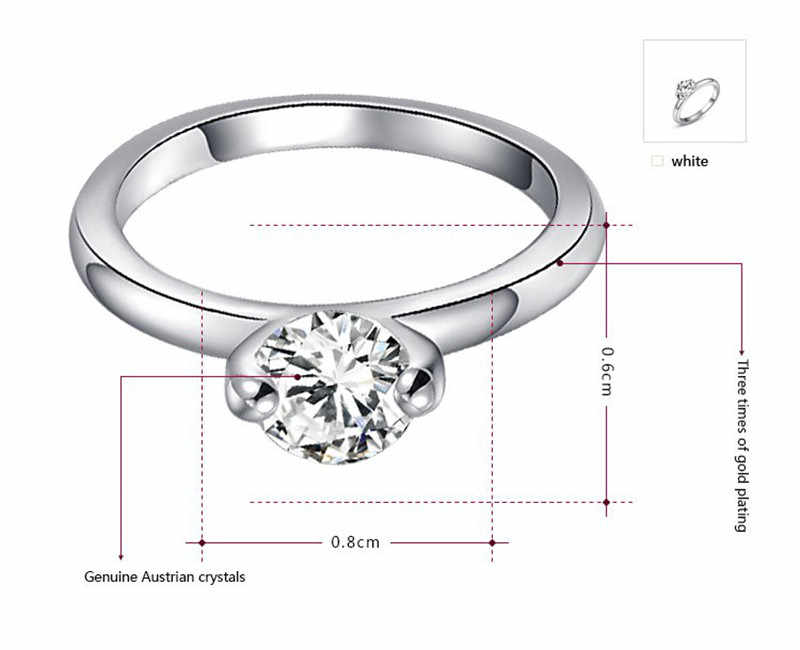 Modyle Ring 2019 Fashion New Women Engagement Austrian Crystal Gold-Color Full Size Zircon Ring Wedding Bride Jewelry