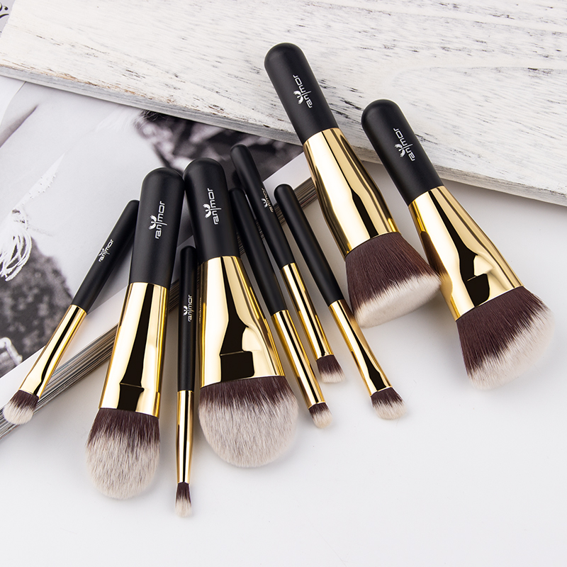 Image 3 - Anmor Hot Sale 9 Pieces Synthetic Hair Makeup Brushes with Sliver Color Bag Beautiful Traveling Makeup Brush Set B001-in Eye Shadow Applicator from Beauty & Health
