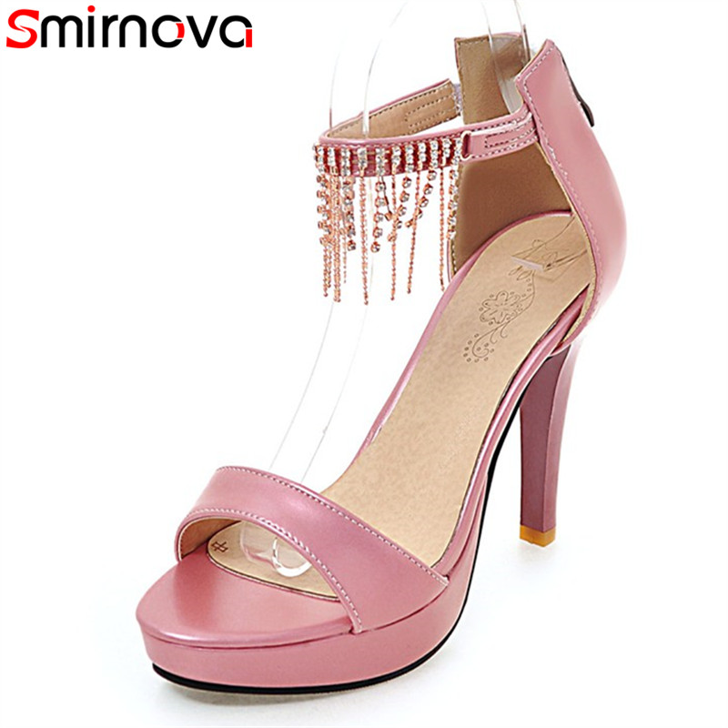 Smirnova big size 31-46 <font><b>2018</b></font> summer <font><b>sexy</b></font> platform wedding <font><b>shoes</b></font> stiletto high <font><b>heels</b></font> high quality pu leather women sandals image