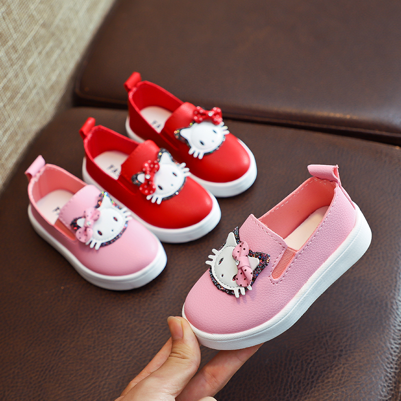 Hot Sale Spring Autumn Children Girls Pu Shoes Girls Shoes Flat Casual Shoes Bling  21-30 Pink Red TX05