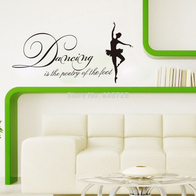 Elegant 55*28cm Hot Dancing Girl Wall Stickers English Proverb Beauty Home Decoration  Posters Living Room Pictures