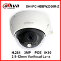 Dahua IP Dome Camera IPC-HDBW2300R-Z 3MP 2.8-12mm Varifocal Lens Zoom POE IP Camera IK10 Vandalproof IP66 Waterproof Digital Web