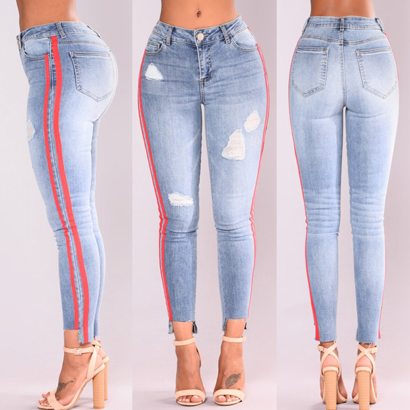 Jeans Autumn Woman Jeans Casual Stretch Denim Striped Stitching Waist Sky Blue Jeans Skinny Trouser Plus Size 3XL Loose XXL