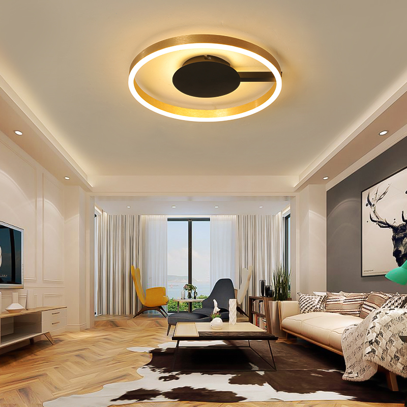 Bedroom Moderrn Led Ceiling Lights Simple round romantic Brushed Gold and Black For Living Room Study Room ceiling lamp FixturesBedroom Moderrn Led Ceiling Lights Simple round romantic Brushed Gold and Black For Living Room Study Room ceiling lamp Fixtures