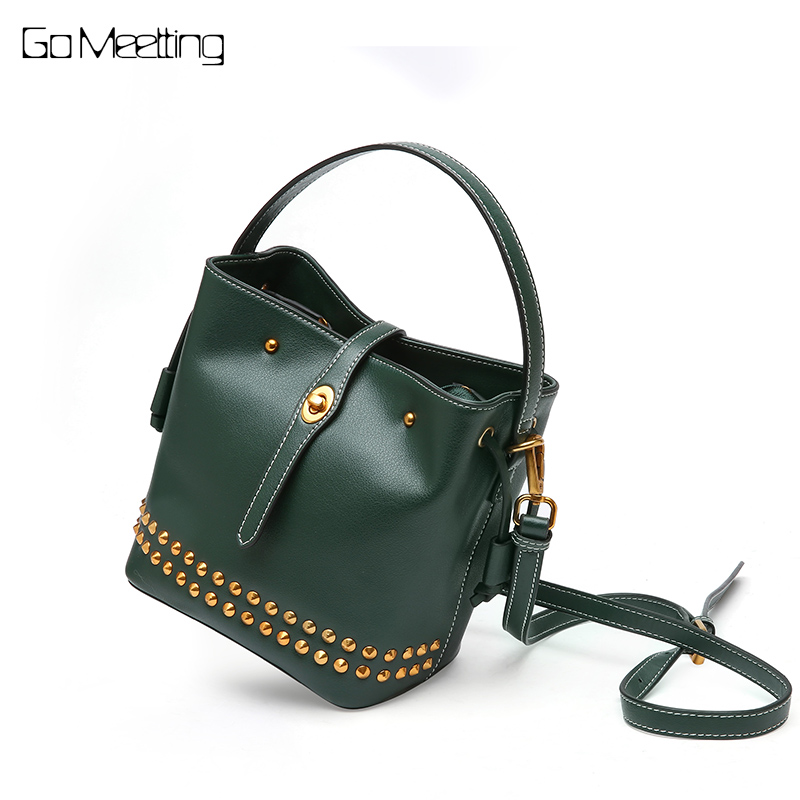 Go Meetting Brand 2018 New Genuine Leather Women Handbag Female Tote Designer Crossbody Bags Rivet Shoulder Bag Bolsa Feminina