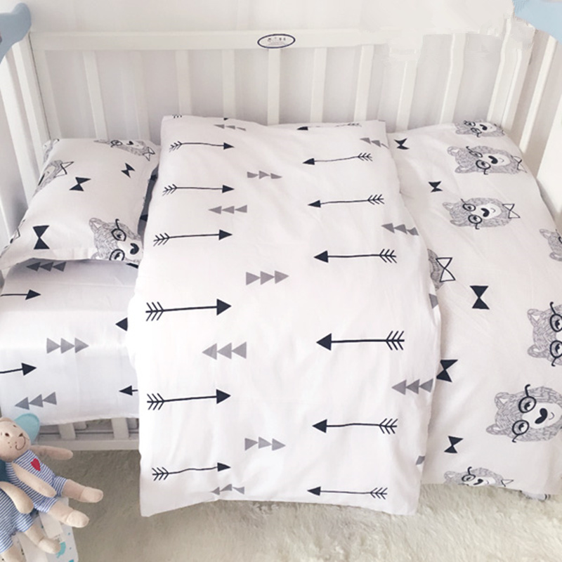 3pcs Muslin White Mr Bear Baby Bedding Set 100% Cotton Crib Lines Set Include Bed Sheet Quilt Cover Pillowcase without Filling