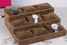 Free Ship 1pcs Coffee  wood+Velvet Jewelry Display Case 12 Grid Pillow Watches Bracelet