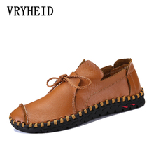VRYHEID High Quality Genuine Leather Men Loafers New Handmade Casual Shoes Moccasins For Comle Flat Big Size 38~50