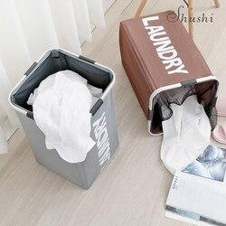 Shushi 折りたたみホームランドリー洗濯物用かご防水オックスフォードダーティ衣類収納バスケットアルミフレームコーナー洗濯オーガナイザー