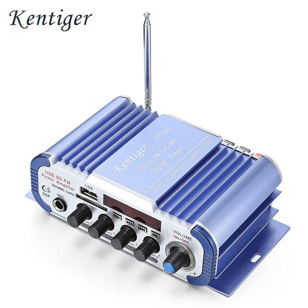 Kentiger HY - 604 HiFi 4-channel Stereo Car Audio Remote Control Amplifier Car super bass Audio kentiger hy 602 hy 603 hy 400 audio amplifier hy speaker hifi stereo power digital amplifier with fm ir control mp3 usb playback
