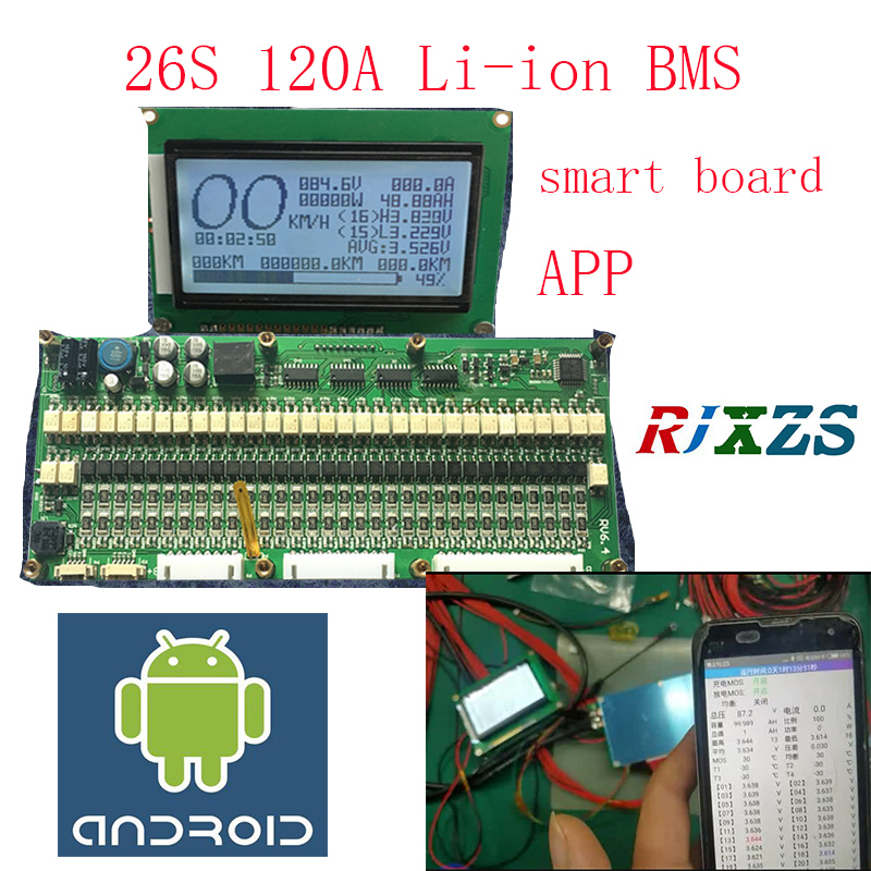 26S smart board lipo lithium Polymer BMS PCM PCB battery protection board for 26 Pack 18650
