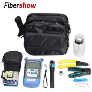 FTTH fiber optic tool kit FC-6S Fiber Cleaver Optical Power Meter 5-30km Visual Fault Locator with Stripping Pliers