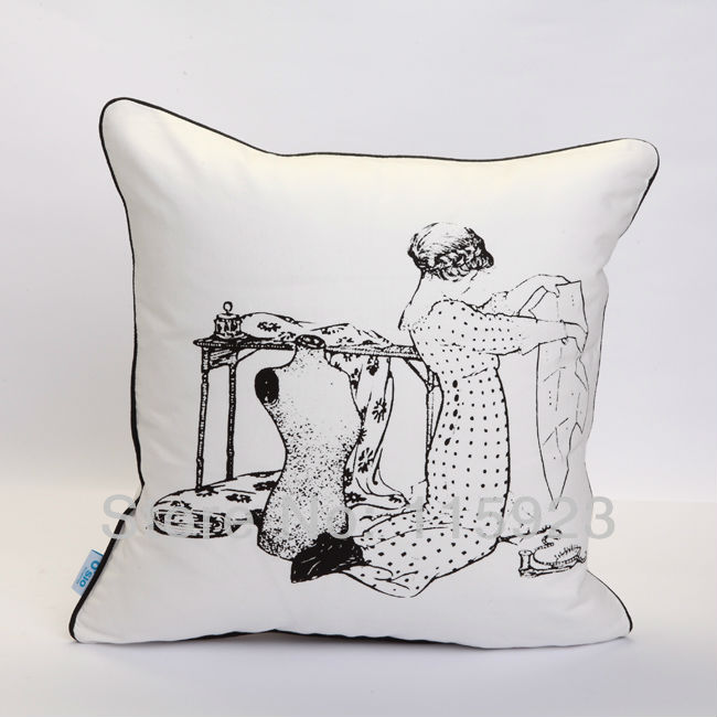 1 Free Shipping cotton girl making dress fashion Sewing machine printed decorative pillow case ...