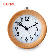 Airinou Circular Snooze Circular Modern Europe Needle Quartz Antique Wooden desktop table Alarm Clocks desk watch despertador