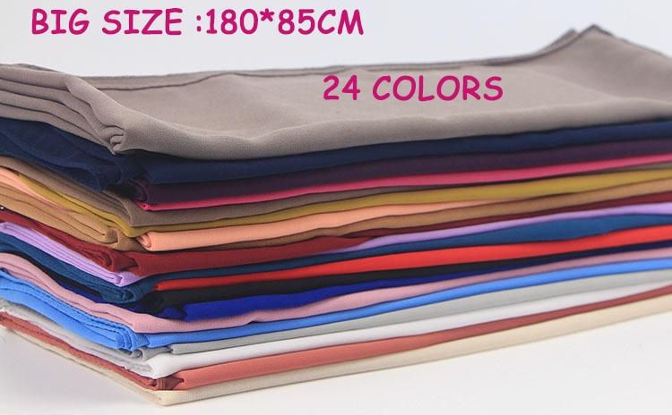 50pcs lot Big Size High Quality Bubble Chiffon Women Muslim Hijab Scarf Shawl Wrap Solid Plain