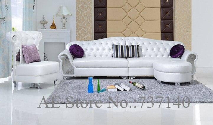 Compra muebles de cuero blanco online al por mayor de for Juego de muebles moderno