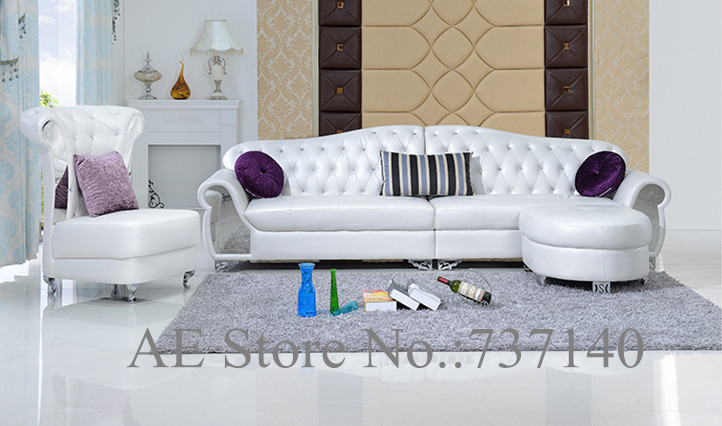 Sofa set living room furniture modern french style leather for Buying living room furniture